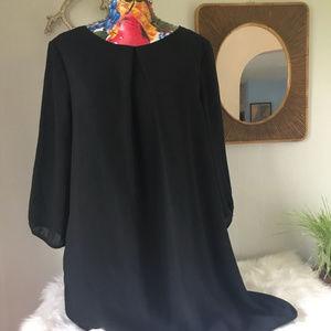 H&M Pleat-front, back zip little black dress